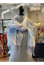 Scarf-Linen and Pearl in Blue -20