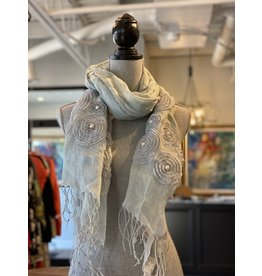 Scarf-Linen and Pearl in Grey -21