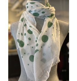 Green Polka Dot Scarf Viscose - 8