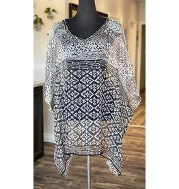 SariKNOTsari Silk Sari- Kaftan Dress- Black & White Print