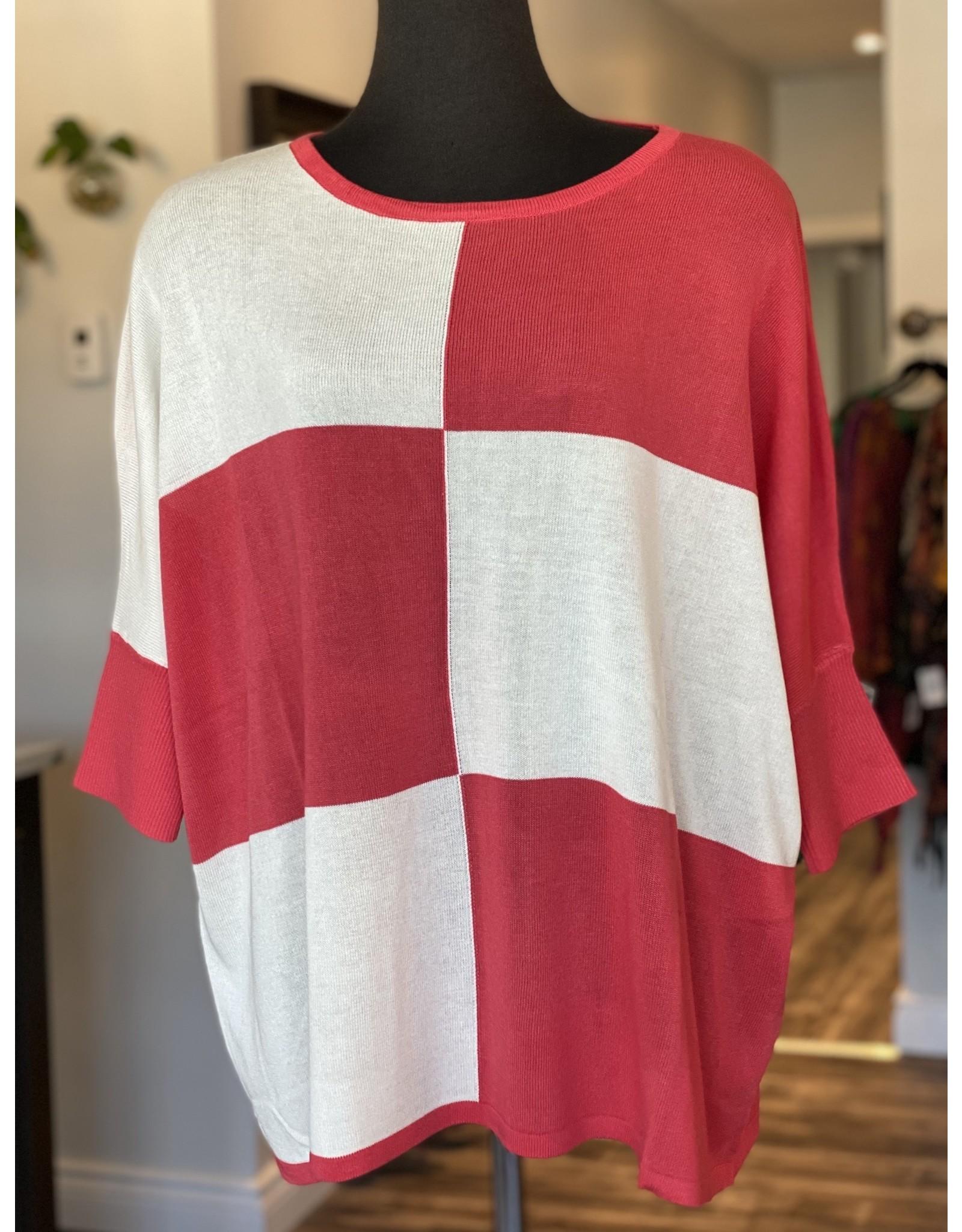Orange Sweater - Coral & White