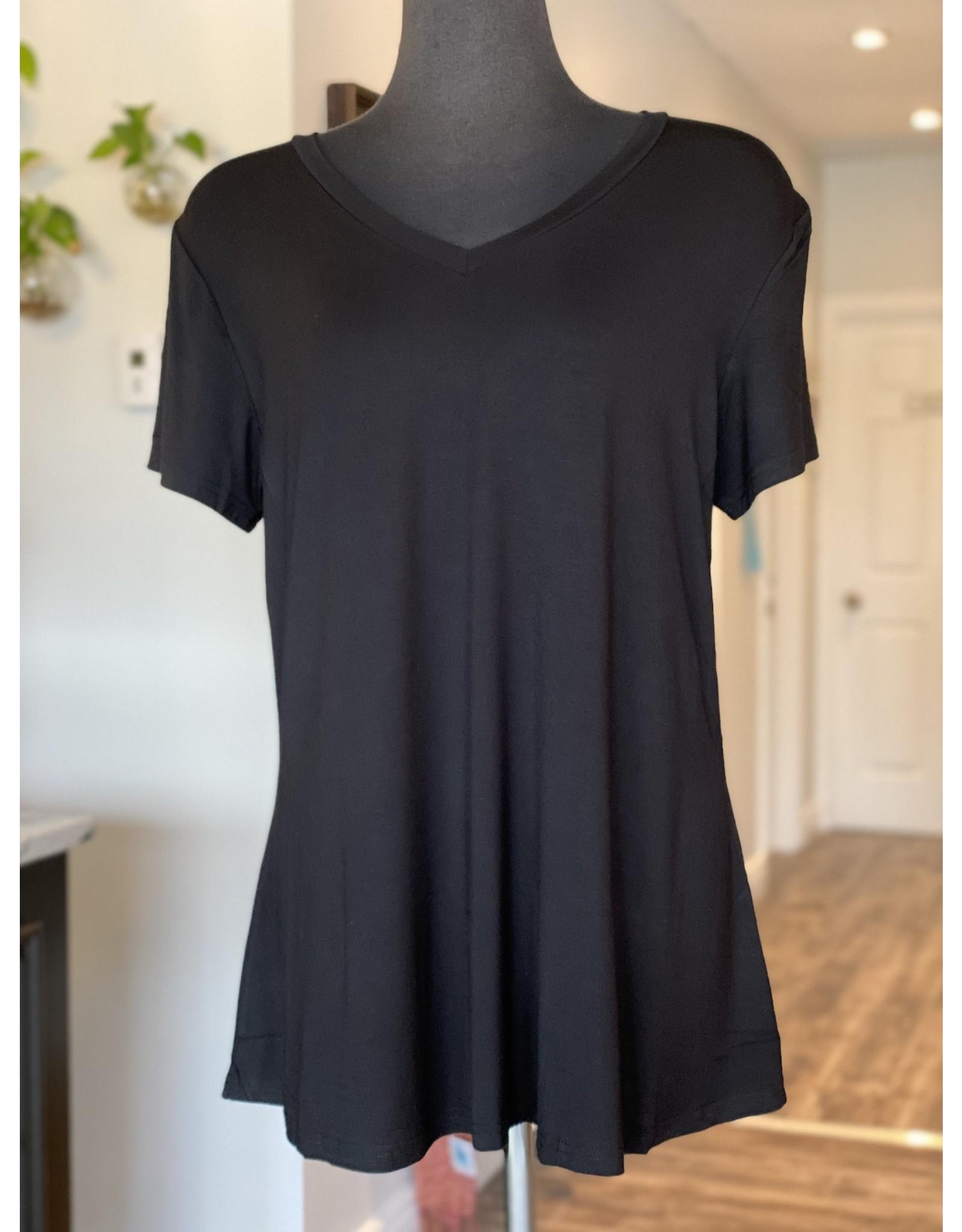 Orange - Bamboo V Tunic in Black