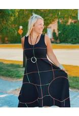 Boris Boris-Serged Dress Blk Stripe Colour Stitch