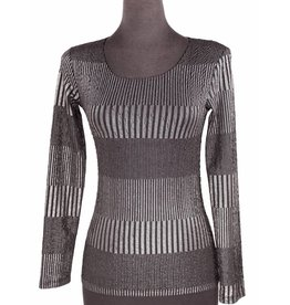 Lousje & Bean L&B- Scoop Top in Silver Stripes