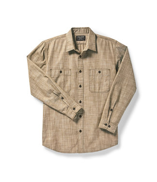 Filson Warden Chambray Work Shirt - Brown Chambray