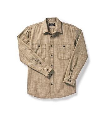 Filson Warden Chambray Work Shirt - Brown Chambray