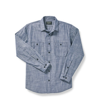 Filson Warden Chambray Work Shirt - Blue Chambray
