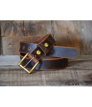 Whiskey Leatherworks Roller Buckle Belt - Crazy Horse Buffalo & Solid Brass