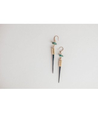 Commonform Porcupine Quill + Turquoise Earrings