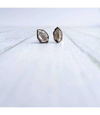 Hawk House Raw Crystal Stud Earrings