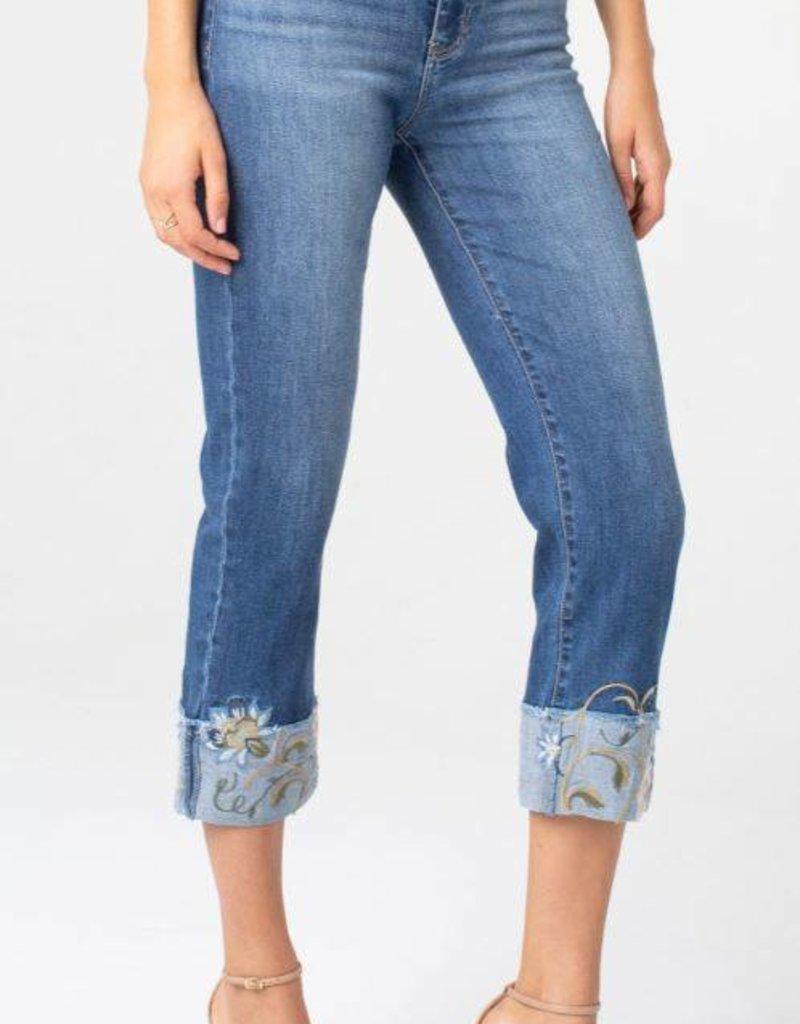 LIVERPOOL Capri jeans à revers brodés