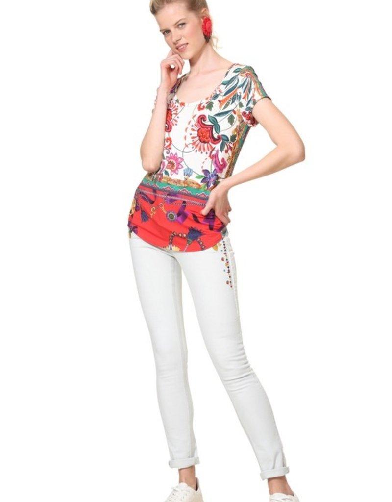 DESIGUAL Tee-shirt fleurs tropicales