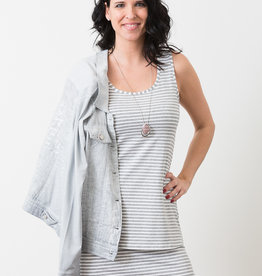 MODE TRICOTTO Camisole gris perle rayée