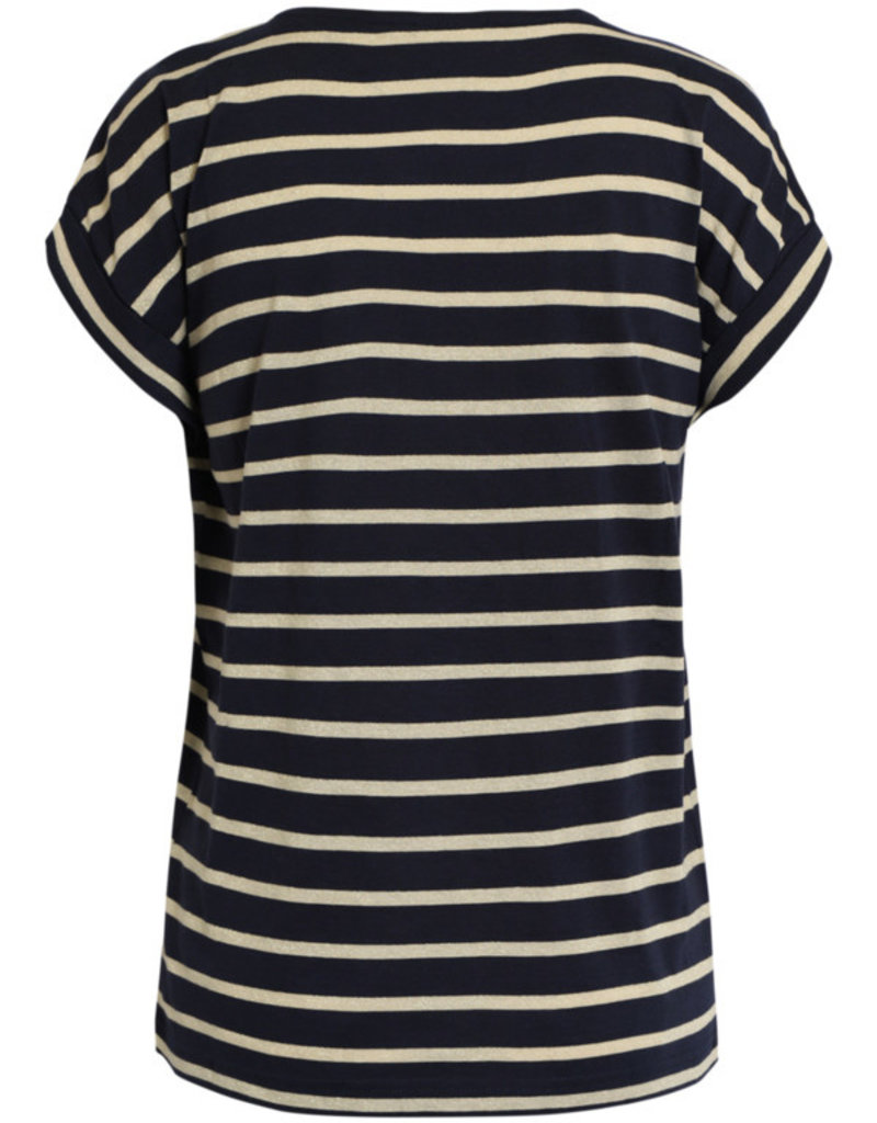 BRANDTEX Tee-shirt marine à rayures beiges