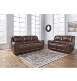 Signature Design Reclining POWER Sofa, Perisphone, Leather- Canyon Color 6070287