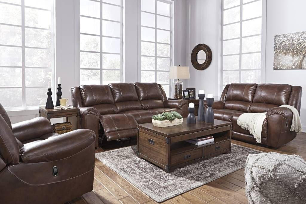 Signature Design Reclining Leather Sofa- Persiphone, Canyon Color 6070288
