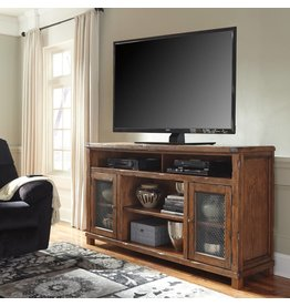 Signature Design Tamonie- XL TV STAND W/FIREPLACE OPTION Rustic Brown-W830-68