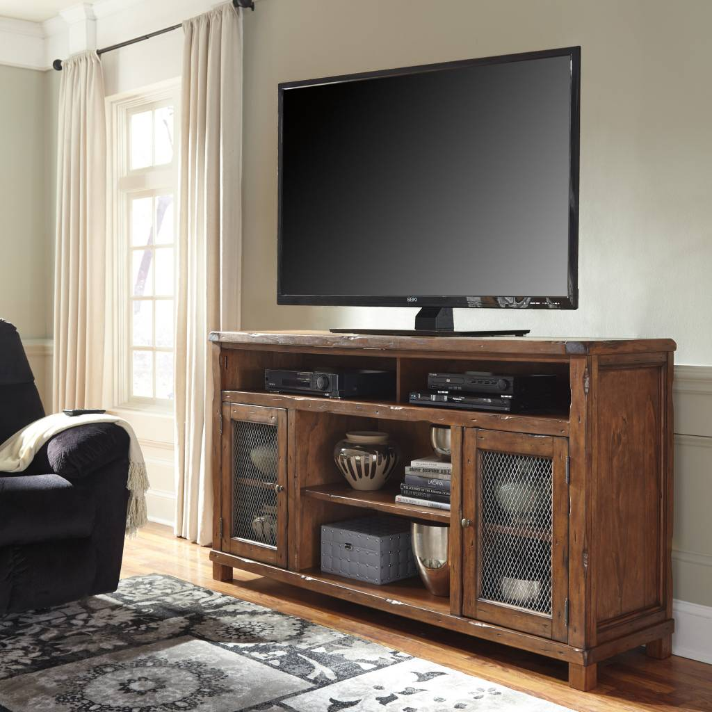 Signature Design Tamonie- XL TV STAND W/FIREPLACE OPTION Rustic Brown