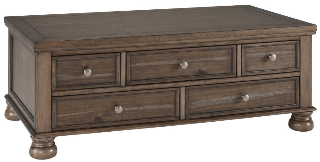 Signature Design Flynnter- Cocktail Talbe with Storage- Medium Brown T716-20
