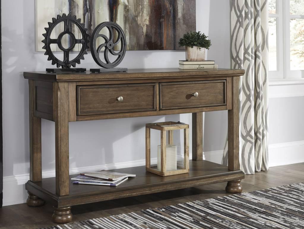 Signature Design Flynnter- Console Sofa Table- Medium Brown- T716-4
