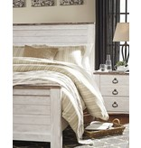 Signature Design Willowton- QUEEN/FULL PANEL BED FRAME- Whitewash- B267-54/57/98