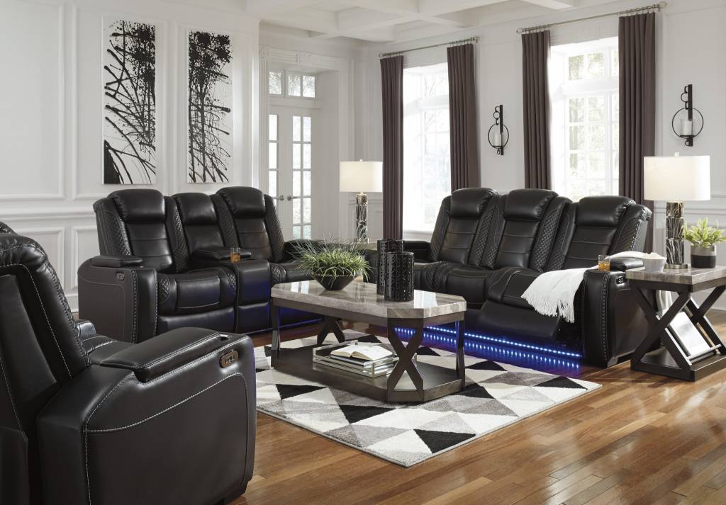 Signature Design Party Time- Power Recliner w/ Adjustable Headrest- LED Lights- Storage, Midnight 3700313