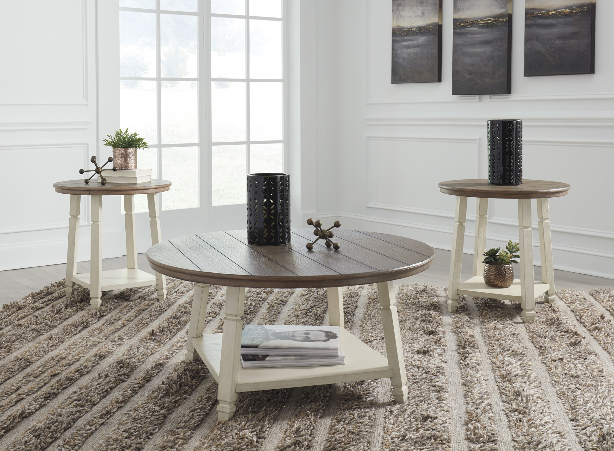 Signature Design Bolanbrook Occasional Tables Set of 3- Two Tone- T377-13