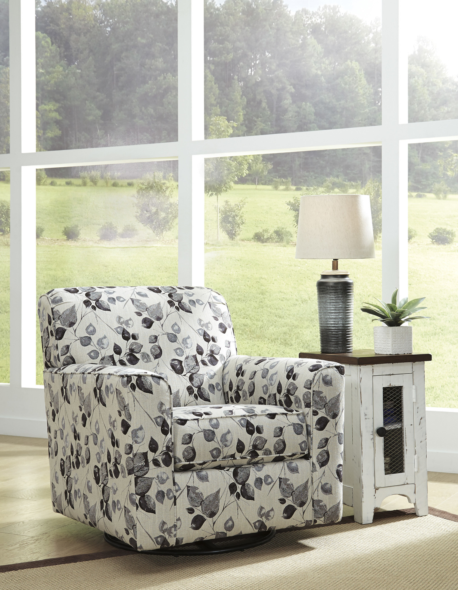 Signature Design Abney- Swivel Accent Chair- Platinum 4970142