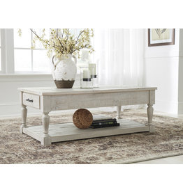 Signature Design Shawnalore Rectangular Coffee Table- Whitewash Solid Pine- T782-1