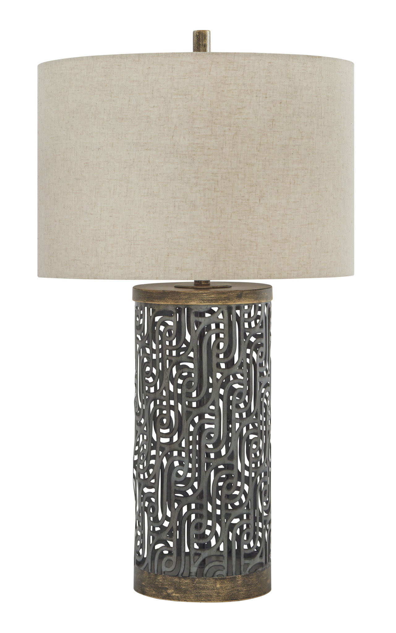 Signature Design Metal Table Lamp Dayo- Gray/Gold Finish- L207364