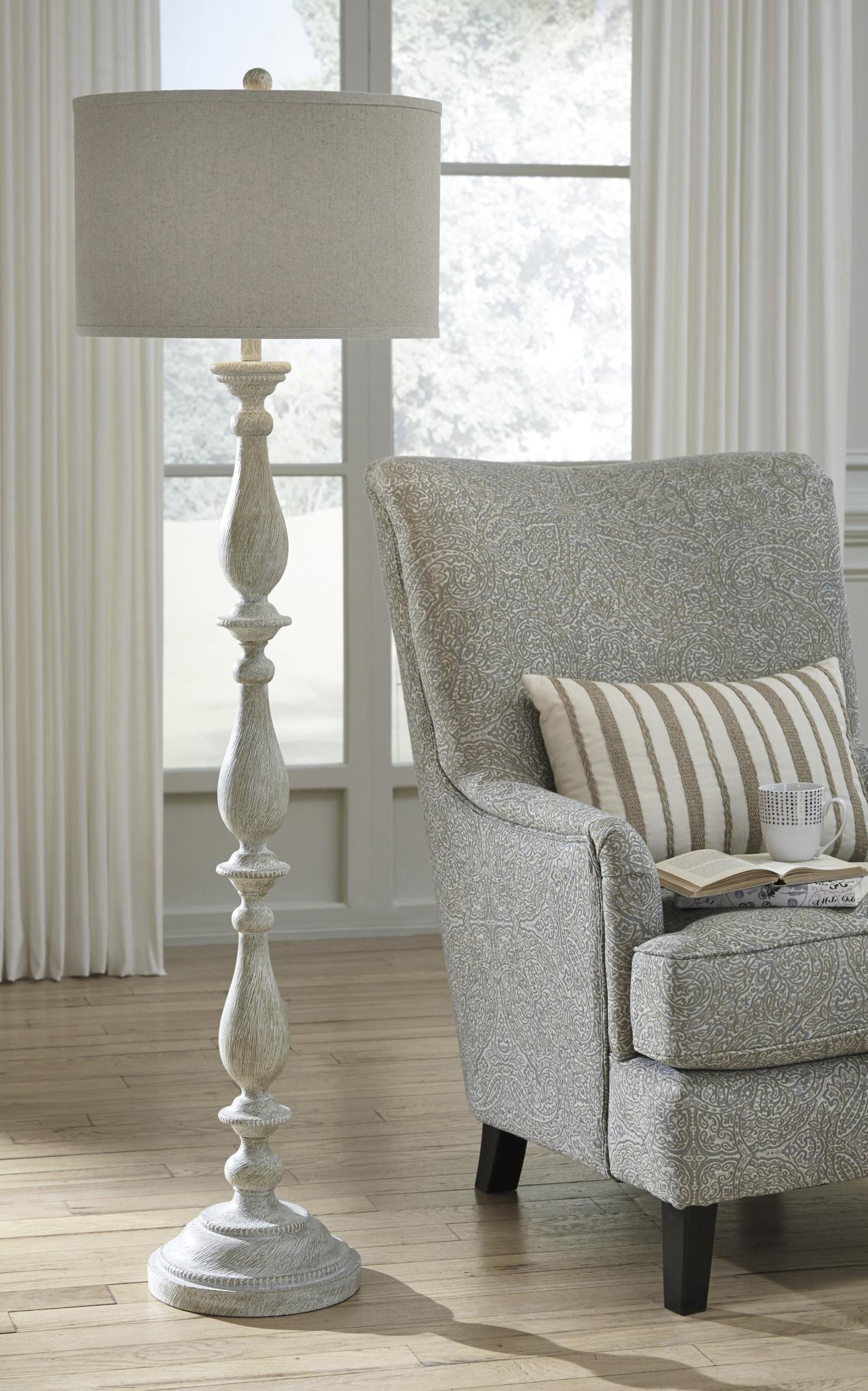Bernadate- Whitewash Floor Lamp- L235341