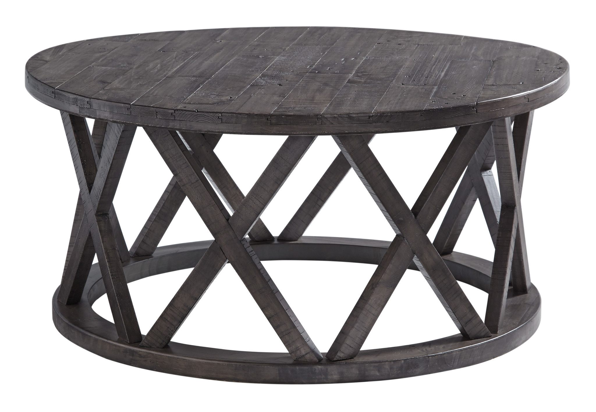 Signature Design Round Cocktail Table- Sharzane- Grayish Brown T711-8