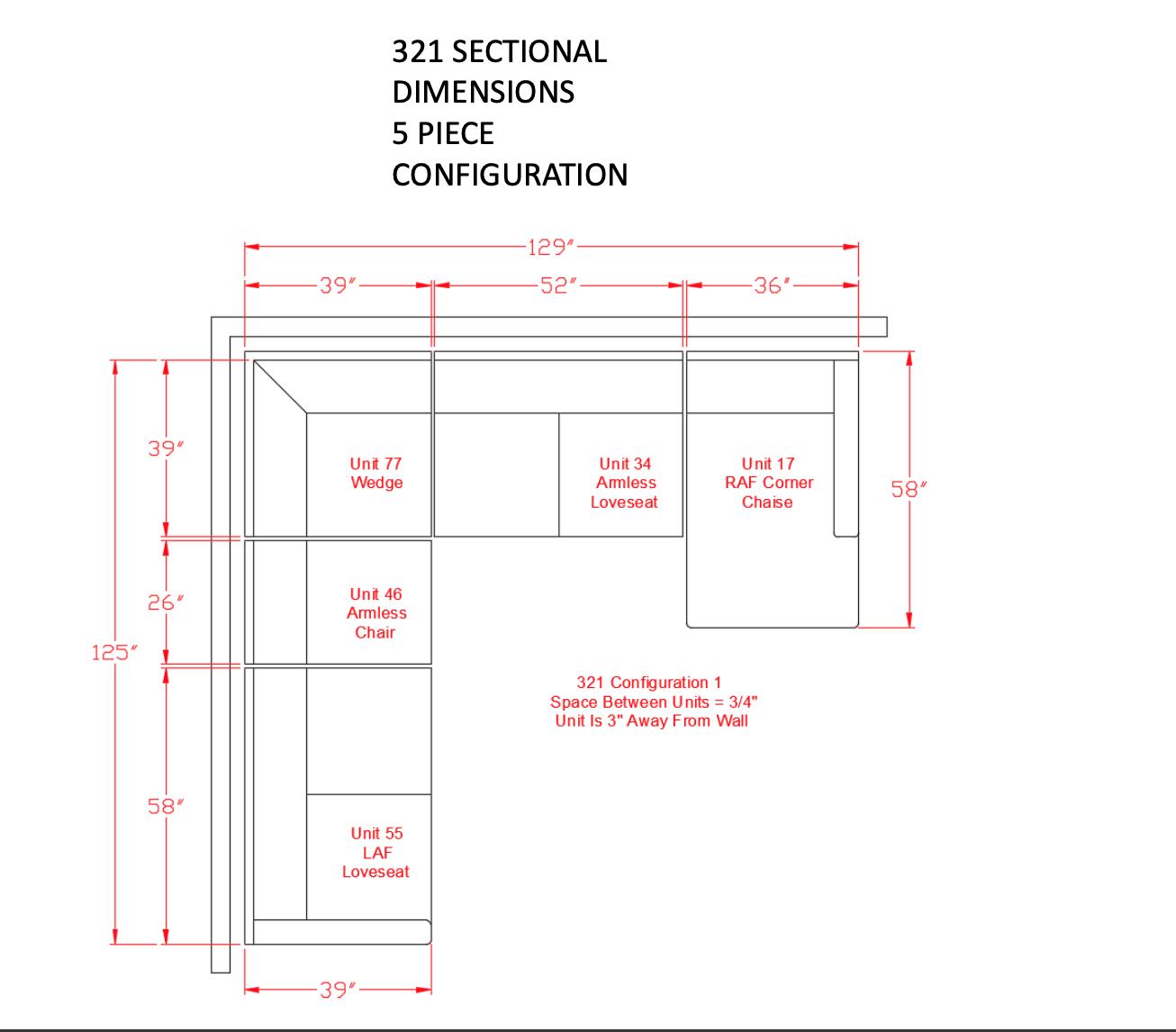 Signature Design Dellara Sectional- 4 piece 32101, 34, 77, 17, 55