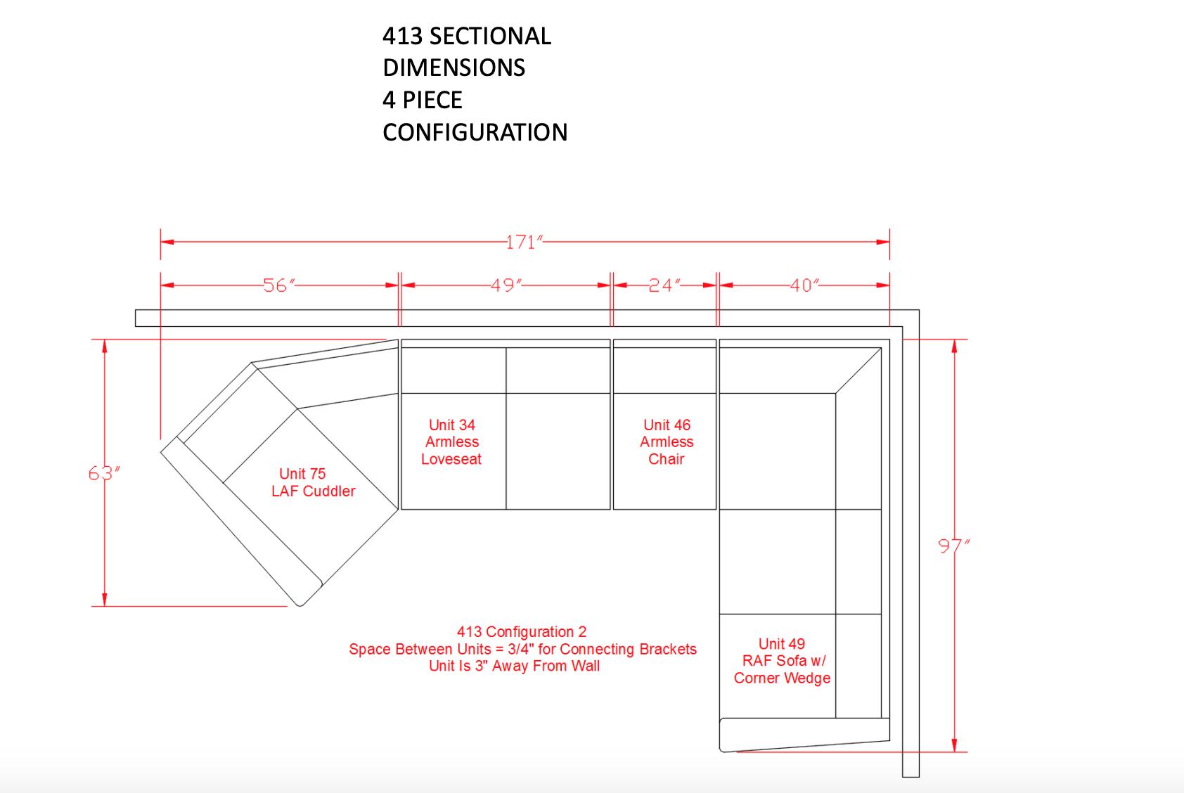 Signature Design Eltmann 3 piece Sectional-  Slate 4130334,349,376