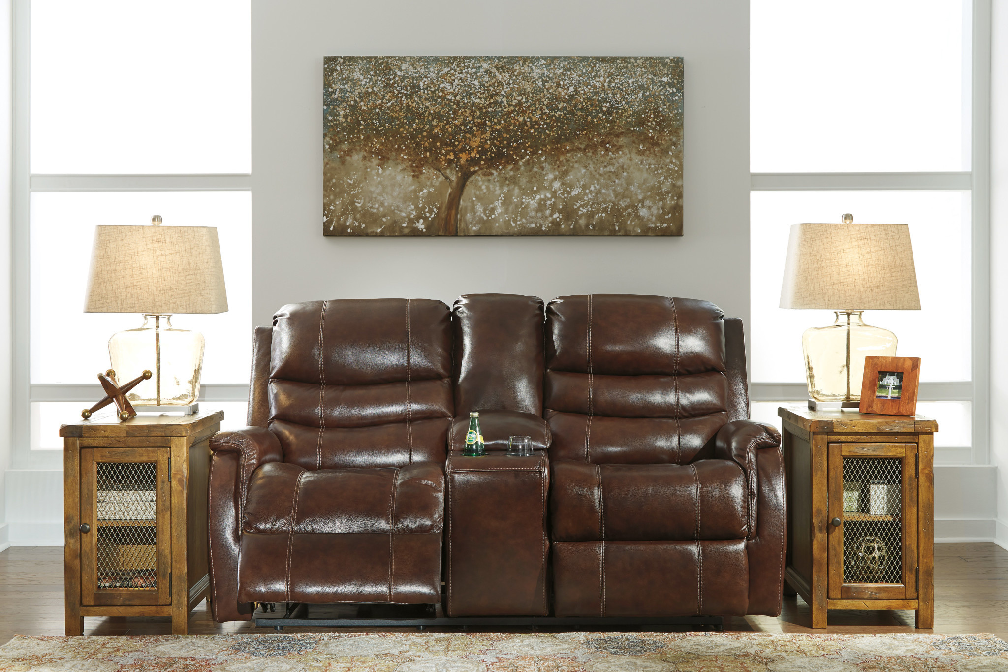 Signature Design Mineola Power Reclining Loveseat with Adj. Headrest Console w/ Cup holders 5020318