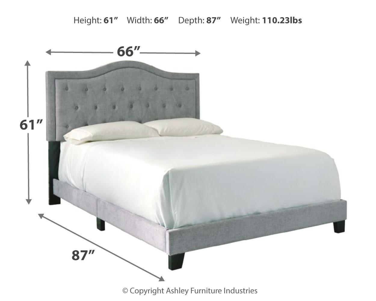 Benchcraft QUEEN- Gray Upholstered Bedframe- Jerary- B090-381