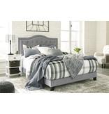 Benchcraft KING Upholstered Gray Bedframe- Jerary- B090-382