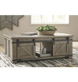 Signature Design Rectangular Storage Cocktail Table Aldwin- Gray T837-1