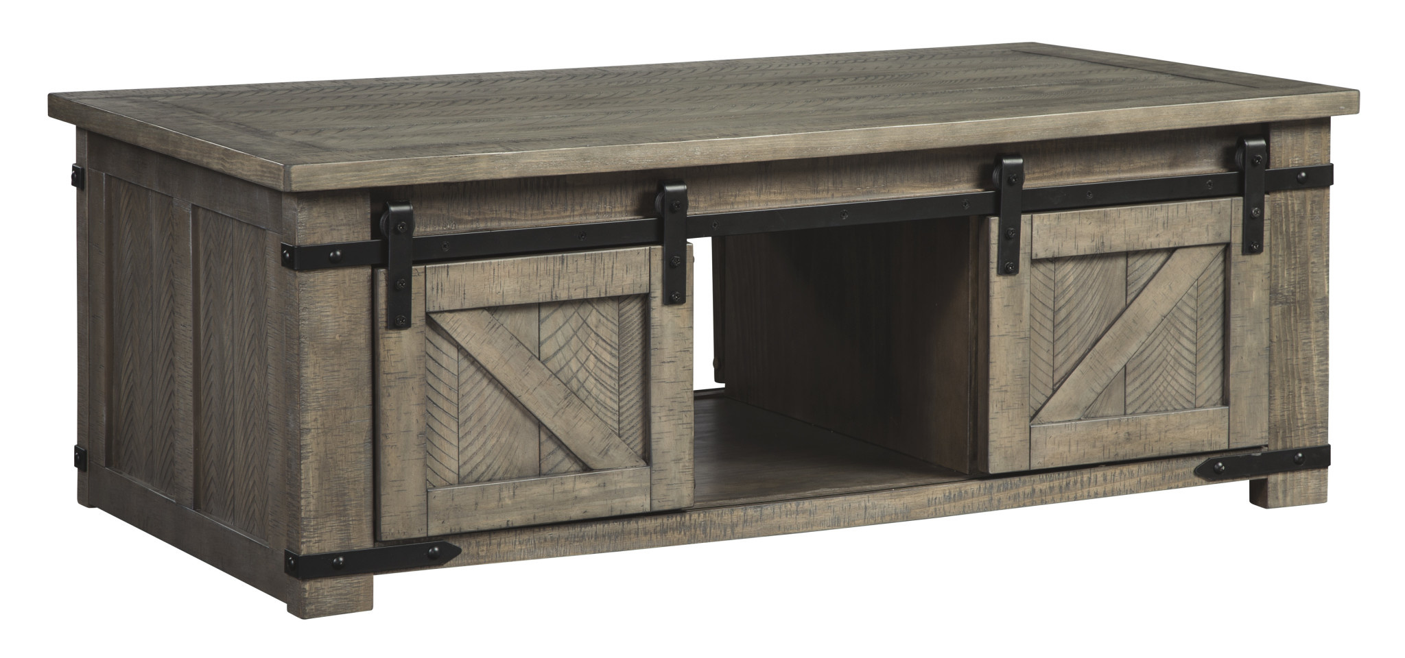 Signature Design Rectangular Storage Cocktail Table Aldwin- Gray T837-1