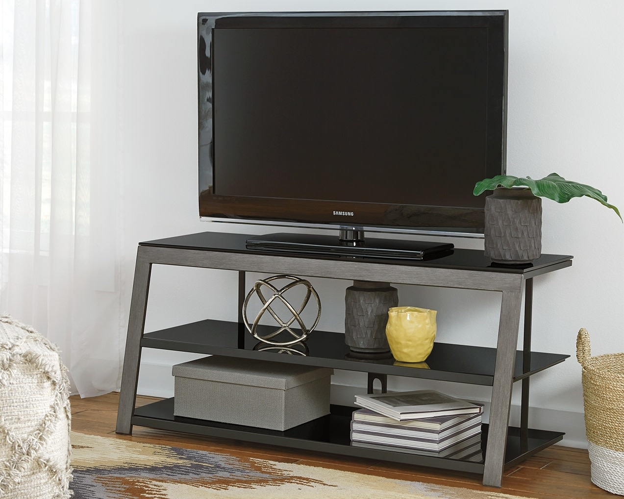 "Rollynx- Black Contemporary TV Stand- 48"" W326-10"