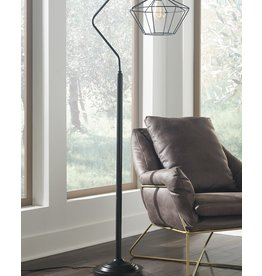 Signature Design Makeika Black Metal Floor Lamp- L207181