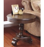 Signature Design Brookfield, Round End Table, Dark Brown T496-6
