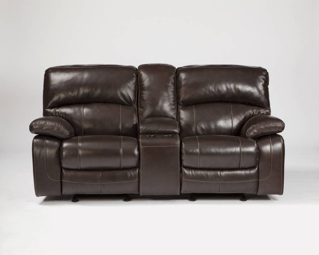 Signature Design Damacio, Glider Power Recliner Loveseat with Center Console, Dark Brown U9820091