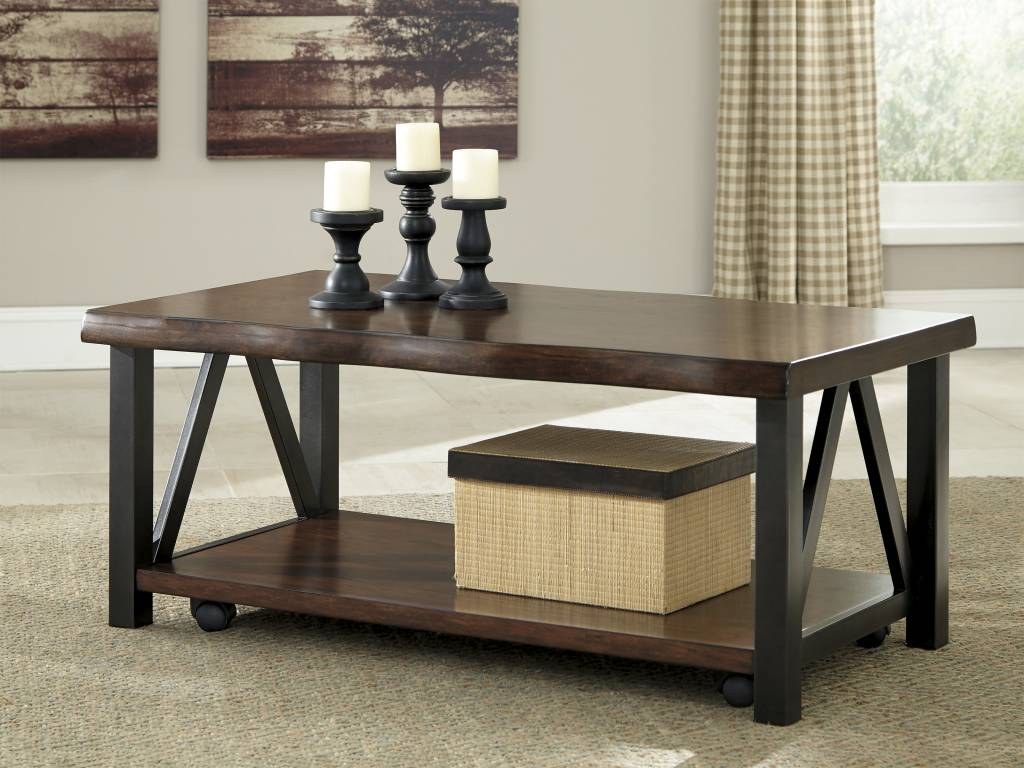 Signature Design Esmarina, Rectangular Cocktail Table, Walnut Brown T815-1