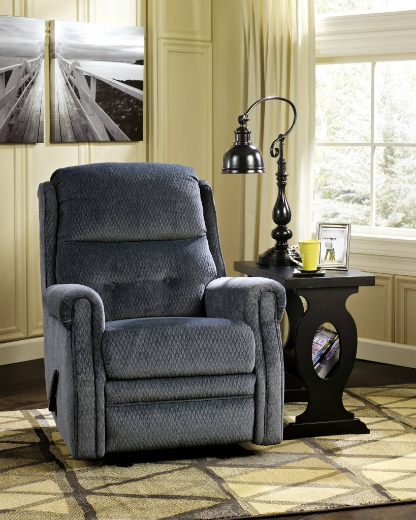 Signature Design Meadowbark, Glider Recliner, Navy 8640627
