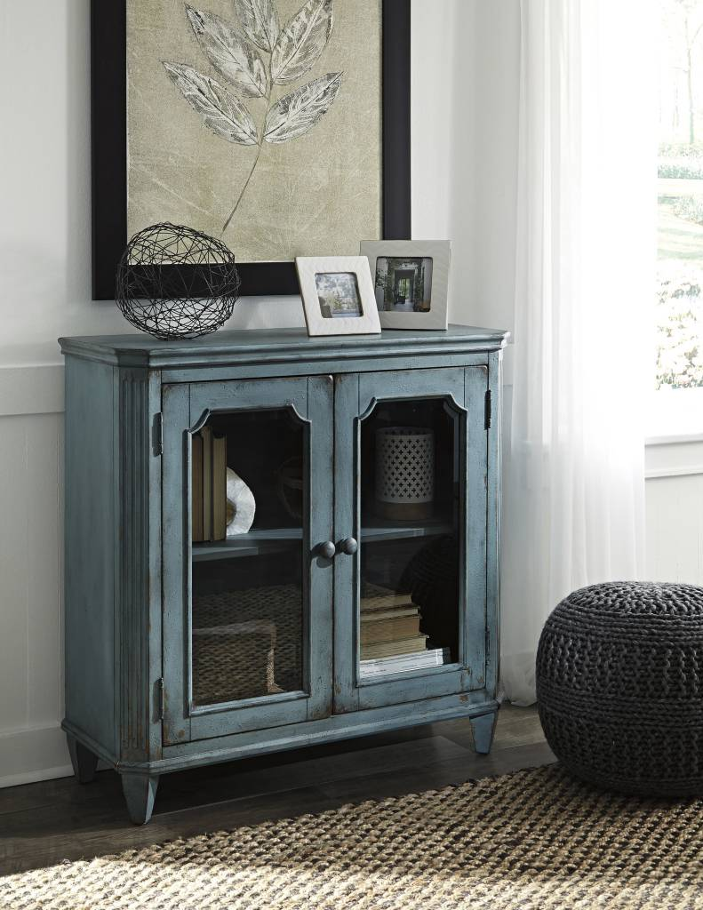 Signature Design Mirimyn, Door Accent Cabinet, Antique Teal T505-742