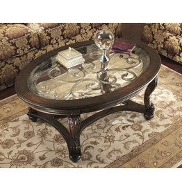 Signature Design Norcastle, Oval Cocktail Table, Dark Brown T499-0