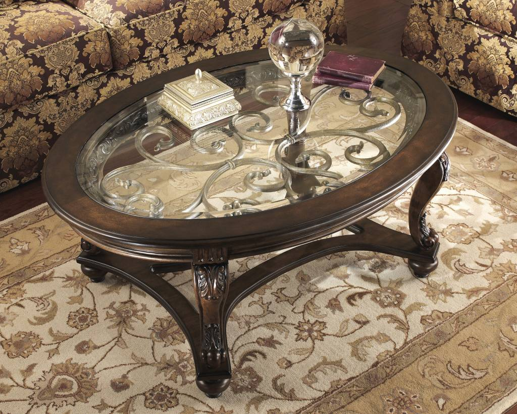 Signature Design Norcastle, Oval Cocktail Table, Dark Brown T499-0