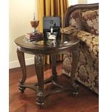 Signature Design Norcastle, Round End Table, Dark Brown T499-6