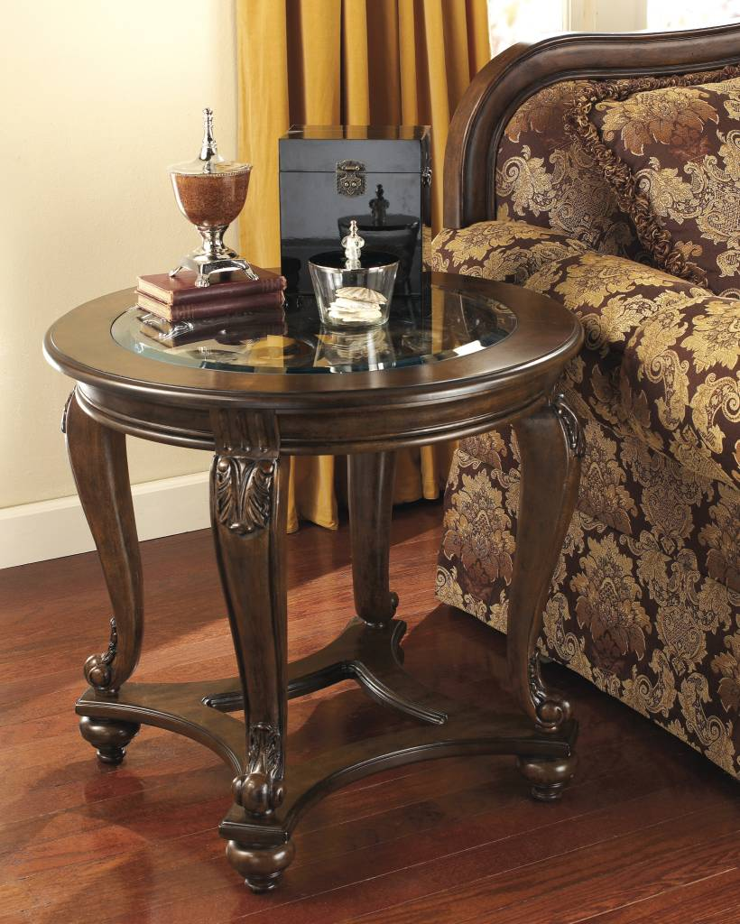 Signature Design Norcastle, Round End Table, Dark Brown T499-6